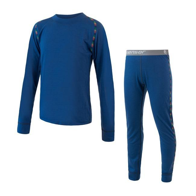 2a8d74de7de SENSOR MERINO AIR SET dětský triko dl.rukáv + spodky tm.modrá ...