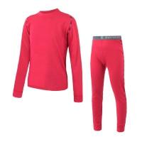 SENSOR MERINO AIR SET dětský triko dl.rukáv + spodky magenta -150