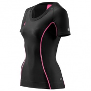 SKINS A200 Womens Black/Pink Top Short Sleeve