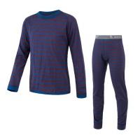 SENSOR MERINO AIR SET dětský triko dl.rukáv + spodky modrá/vínová pruhy -140