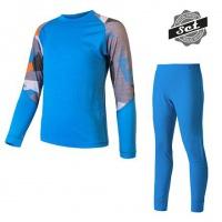 SENSOR MERINO IMPRESS SET dětský triko dl.rukáv + spodky modrá/camo -150