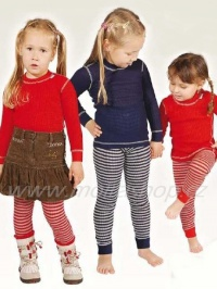 MOIRA MONO dětské spodky dlouhé nohavice 90-120 červená šedý pruh