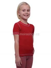 MOIRA MONO dětské triko s krátkým rukávem 90-120 červená šedý šev