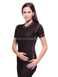 MOIRA MONO triko dámské s krátkým rukávem černá jahodový šev