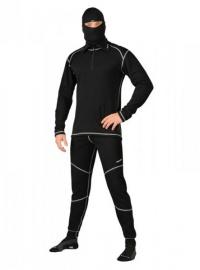 MOIRA PLYŠ spodky s dlouhou nohavicí černá s šedými švy