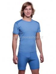 MOIRA SUPERMICRO Pánské pyžamo krátké modrý pruh