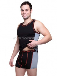 MOIRA UNDERLIGHT pánské boxerky černá oranžový šev